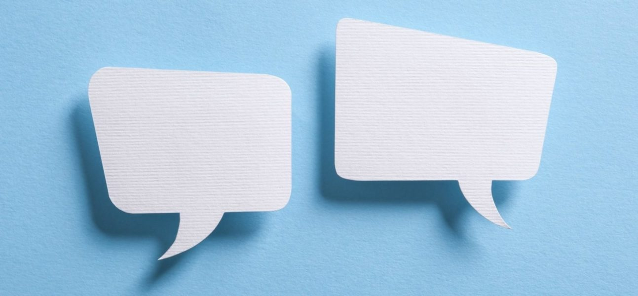 negotiate white speech bubbles with blue background