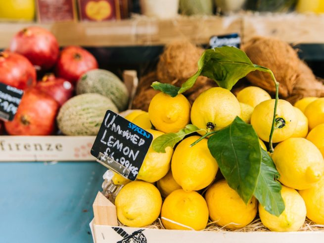 lemons in a crate for sale