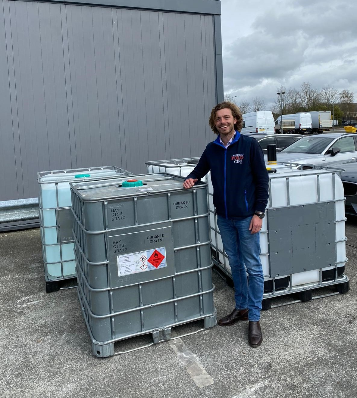Rich Hine delivering IBC of hand sanitiser to central distribution network in April 2020