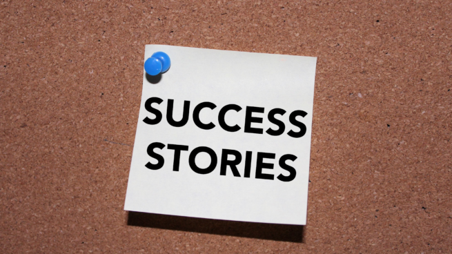 post it note on board success stories